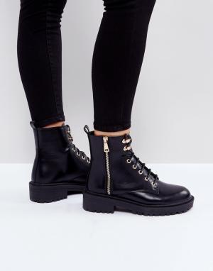 Raid Ботинки на шнуровке Jenny. Цвет: черный