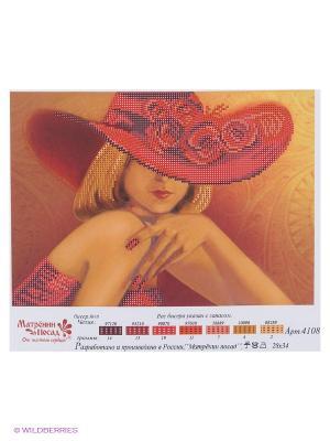 Рисунок на шелке Дама в красном Матренин Посад. Цвет: желтый, красный