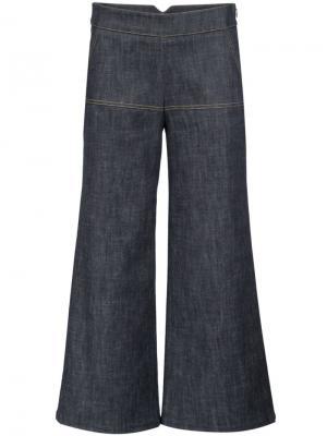 Укороченные брюки с клешем ниже колена Derek Lam. Цвет: синий