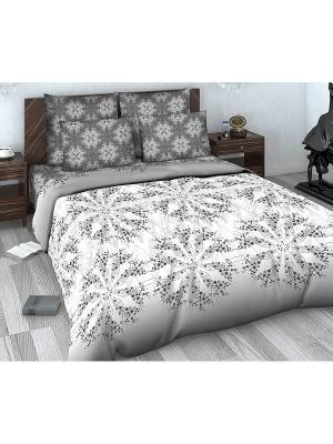 Комплект постельного белья из сатина 2 спальный Василиса. Цвет: серый, белый