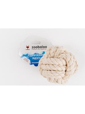 Мяч Кулак обезьяны для собак из х-б каната 10см Zoobaloo. Цвет: белый