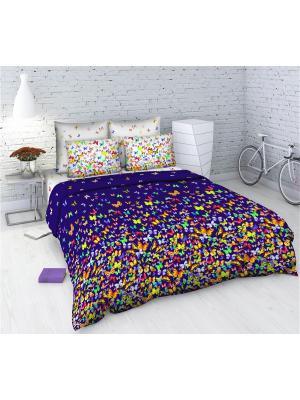 Комплект постельного белья Василиса из бязи 2 спальный. Цвет: темно-фиолетовый, темно-красный, темно-синий
