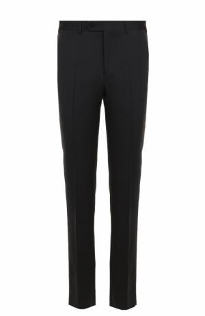 Шерстяные брюки прямого кроя Canali. Цвет: черный