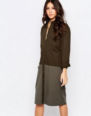 Northmore Denim Джинсовое платье в стиле милитари. Цвет: зеленый