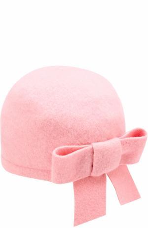 Шерстяная шапка с бантом I Pinco Pallino. Цвет: розовый