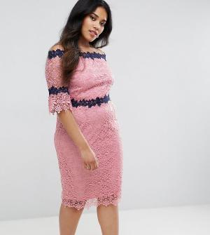 Paper Dolls Plus Кружевное платье с вырезом лодочкой. Цвет: розовый
