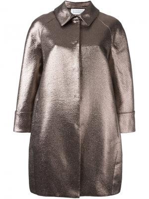 Пальто с эффектом металлик Gianluca Capannolo. Цвет: розовый и фиолетовый