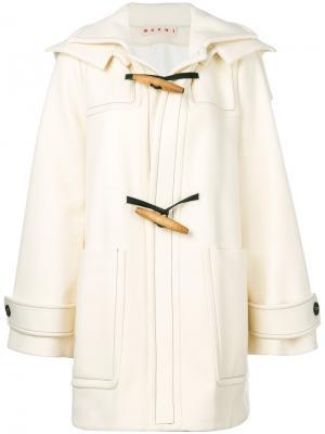 А-образное пальто дафл Marni. Цвет: белый