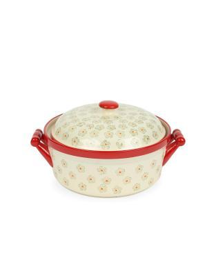 Кастрюля из жаростойкой керамикм (духовка/микроволновка) 2,75 л Peterhof. Цвет: кремовый, белый