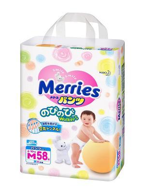 Трусики-подгузники для детей размер M 6-11кг, 58шт MERRIES. Цвет: белый