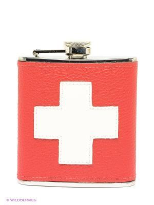 Фляга с флагом Швейцария eflgs-04 Экспедиция. Цвет: фуксия, серебристый