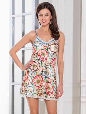 Сорочка MIA-MELLA. Цвет: бежевый, красный, голубой