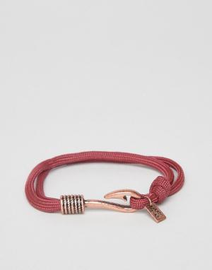 Icon Brand Красный веревочный браслет с состаренной медной отделкой. Цвет: золотой