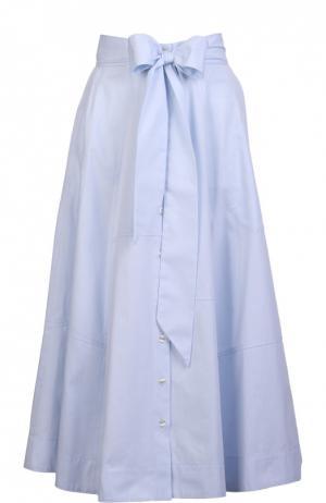 Хлопковая юбка-миди на пуговицах с бантом Lisa Marie Fernandez. Цвет: светло-голубой