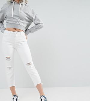 Noisy May Petite Укороченные джинсы с рваной отделкой. Цвет: белый