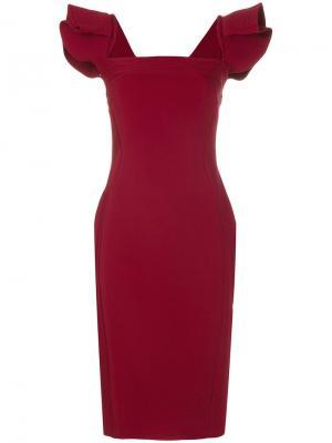 Платье с квадратным вырезом Antonio Berardi. Цвет: красный