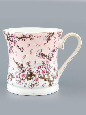 Кружка Сакура на розовом Elan Gallery. Цвет: розовый