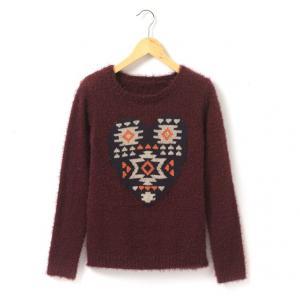 Пуловер из ворсистой ткани, сердце с этническим узором R teens. Цвет: фиолетовый