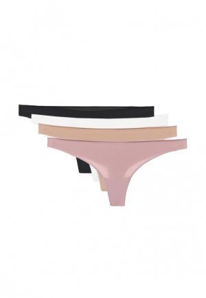 Комплект трусов 4 шт. Alla Buone. Цвет: бежевый, белый, розовый, черный
