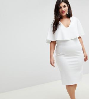 ASOS Curve Облегающее платье миди с глубоким вырезом и кейпом. Цвет: белый