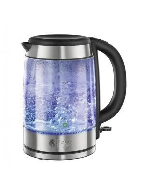 Чайник Glass 21600-70 Russell Hobbs. Цвет: черный, серебристый
