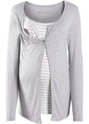 Мода для беременных: футболка с функцией кормления (светло-серый в полоску) bonprix. Цвет: светло-серый в полоску