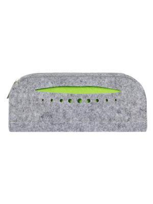 Косметичка фетровая с карманом IQ Format. Цвет: зеленый,серый