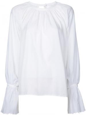 Блузка со сборками и длинными рукавами Cityshop. Цвет: белый