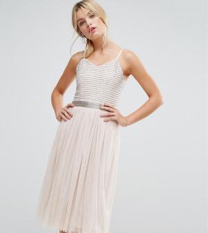 Amelia Rose Декорированное платье миди с юбкой из тюля. Цвет: коричневый