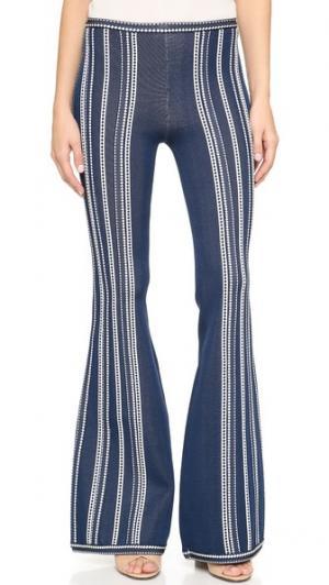 Расклешенные брюки Herve Leger. Цвет: комбинированный классический синий