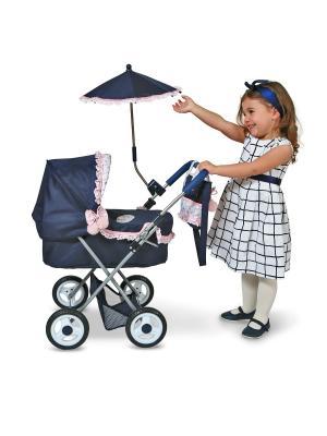 Коляска с сумкой и зонтиком Романтик, 65см DeCuevas. Цвет: розовый, синий