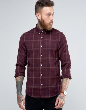 Hoxton Shirt Company Рубашка узкого кроя в клетку. Цвет: красный