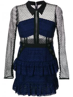 Короткое платье с панельным дизайном Self-Portrait. Цвет: синий
