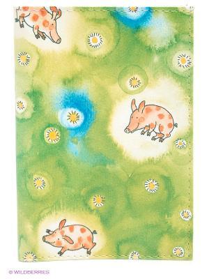 Обложка для автодокументов Поросята Mitya Veselkov. Цвет: зеленый, желтый