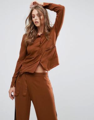 Minimum Рубашка в пижамном стиле. Цвет: коричневый