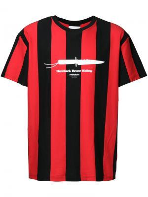 Полосатая футболка Yoshiokubo. Цвет: красный