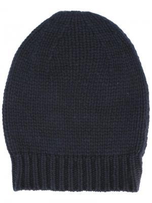 Шапка ребристой вязки Apuntob. Цвет: синий