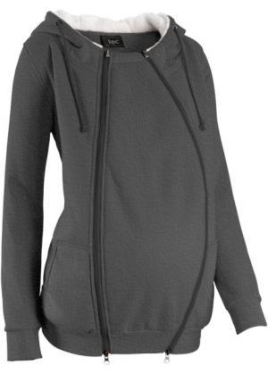 Мода для беременных: триктажная куртка с защитной вставкой малыша (винтажно-розовый меланж) bonprix. Цвет: винтажно-розовый меланж