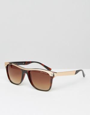 Black Phoenix Круглые солнцезащитные очки. Цвет: коричневый