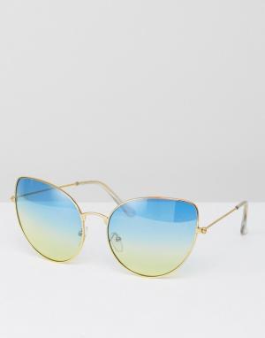 7X Солнцезащитные очки с синими затемненными стеклами. Цвет: золотой