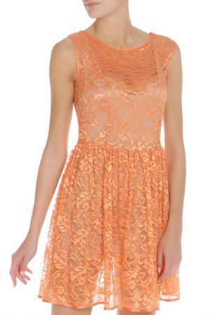 Короткое платье из гипюра American Apparel. Цвет: оранжевый