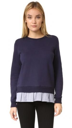 Толстовка из рубашечной ткани с оборками Clu. Цвет: темно-синий/полоска