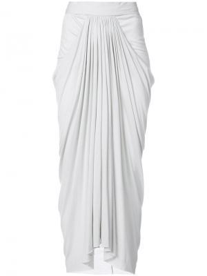 Длинная драпированная юбка Rick Owens Lilies. Цвет: телесный