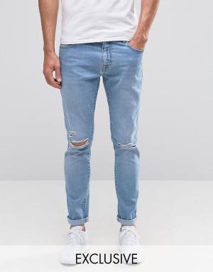 Brooklyn Supply Co. Светлые облегающие джинсы с дырками на коленях Co. Цвет: синий