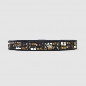 Ремень широкий, из кожи, украшен бусинами MADEMOISELLE R. Цвет: черный