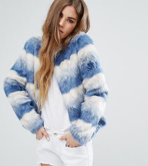 Unreal Fur Джинсовая куртка без воротника Dream. Цвет: синий