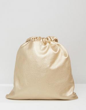 7X Рюкзак из искусственной кожи на шнурке. Цвет: золотой