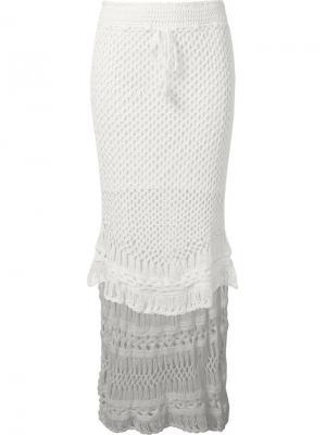 Ажурная юбка Skinbiquini. Цвет: белый