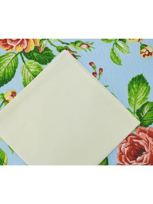 Комплект Rose blu дорожка и салфетки 4 шт. T&I. Цвет: светло-голубой