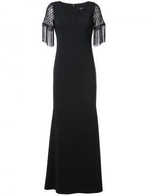 Вечернее платье с бахромой на рукавах Badgley Mischka. Цвет: чёрный